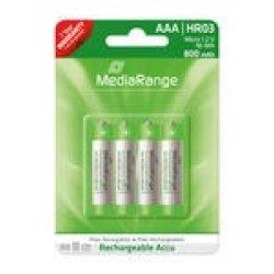 Pilhas Mediarange Recarregáveis AAA|HR03 1.2V - Pack 4