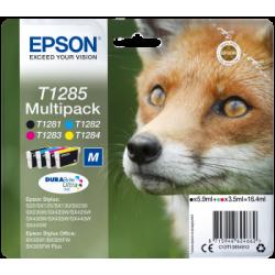 Conjunto 4 Tinteiros Epson T1285 Original Série Raposa (C13T12854012)