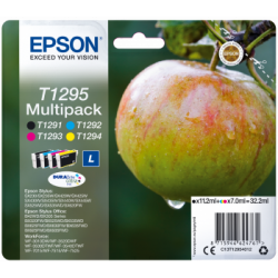 Conjunto 4 Tinteiros Epson T1295 Original Série Maça (C13T12954012)